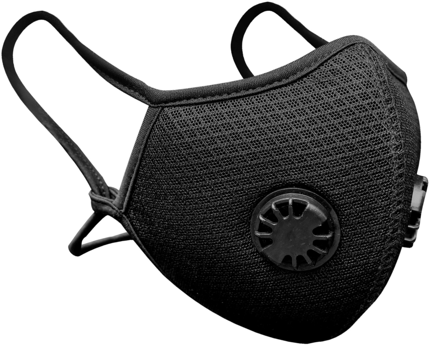 Многоразовая маска-респиратор с 2 клапанами и фиксатором, черный - XoKo