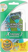Духи, Парфюмерия, косметика Одноразовые станки, 4+2 шт. - Wilkinson Sword Xtreme 3 Sensitive