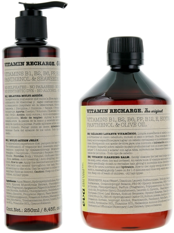 Набор для ухода за волосами - Eva Professional Vitamin Recharge Pack The Original (shm/500ml + cr/250ml)