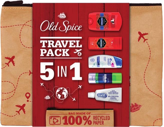 Набор - Old Spice Travel Pack 5 in 1 (sh/f/100ml + sh/gel/50ml + deo/50g + shm/90ml + t/paste/15ml)