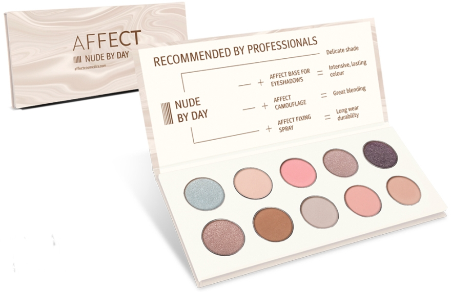 Палетка прессованных теней для век - Affect Cosmetics Nude By Day Eyeshadow Palette