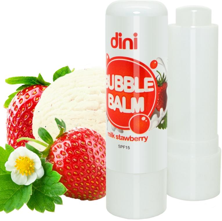 "Гигиеническая помада ""Клубника"" - Dini Bubble Balm Milk Strawberry SPF 15"