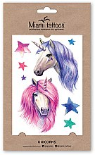 Духи, Парфюмерия, косметика Акварельные переводные тату - Miami Tattoos Unicorns (мини)