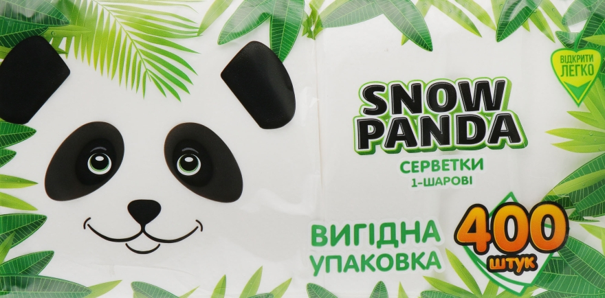 Салфетки бумажные, белые, 400шт - Снежная панда