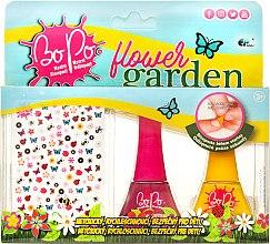 """Духи, Парфюмерия, косметика Набор лаков для 2шт, и 300 стикеров для ногтей """"Цветочный сад"""", розовый, желтый - BoPo"""