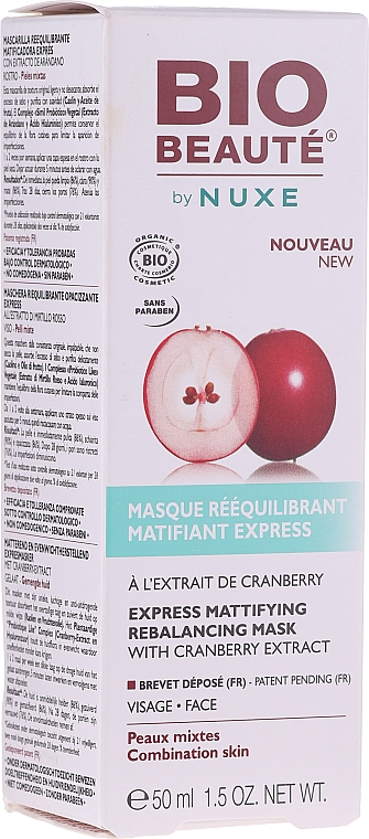 Маска с матирующим эффектом для сужения пор - Nuxe Bio Beaute Express Mattifying Rebalancing Mask