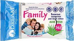 Духи, Парфюмерия, косметика Влажные салфетки для всей семьи, 36 шт. - Air Dream Family Aloe Vera