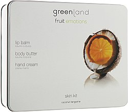 Духи, Парфюмерия, косметика Набор - Greenland Fruit Emotion Coconut Tangerine (lip/balm/3.9g + b/butter/120ml + h/cr/75ml)
