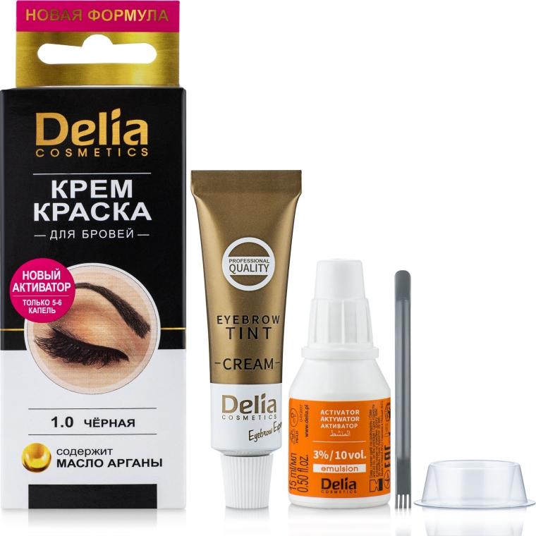 Крем-краска для бровей и ресниц, черная - Delia Brow Dye Black 1.0