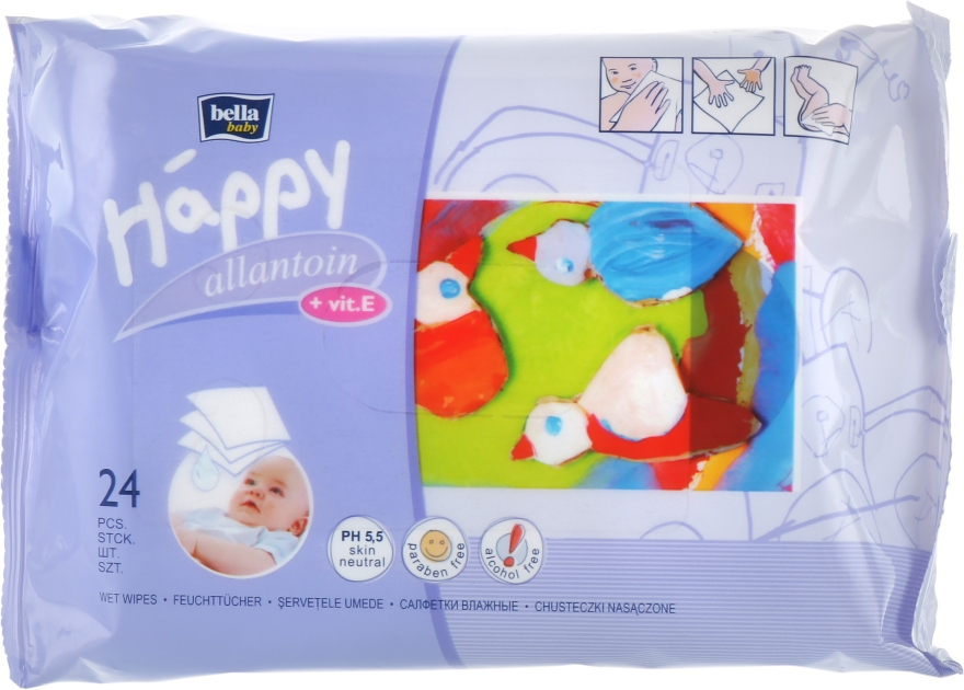 Влажные салфетки c витамином Е, 24 шт - Bella Baby Happy Vit E & Allantoin