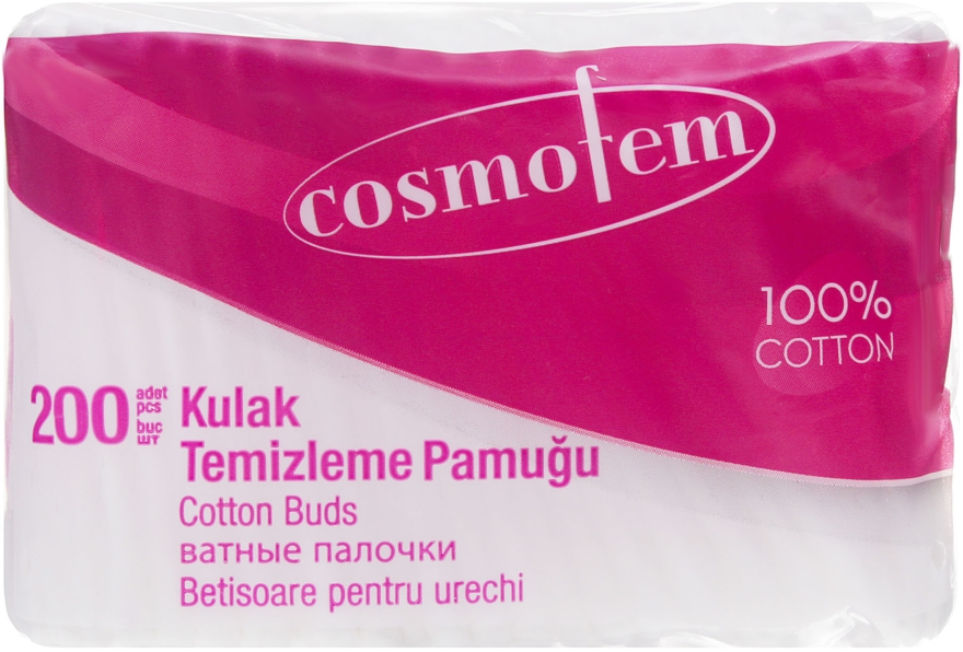 Ватные палочки, в пакете, 200 шт - Ipek Cosmofem Cotton Buds