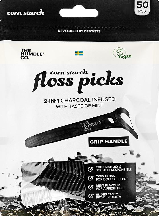 Флосс-зубочистки из кукурузного крахмала «Освежающая мята+Активированный уголь» - The Humble Co. Floss Picks