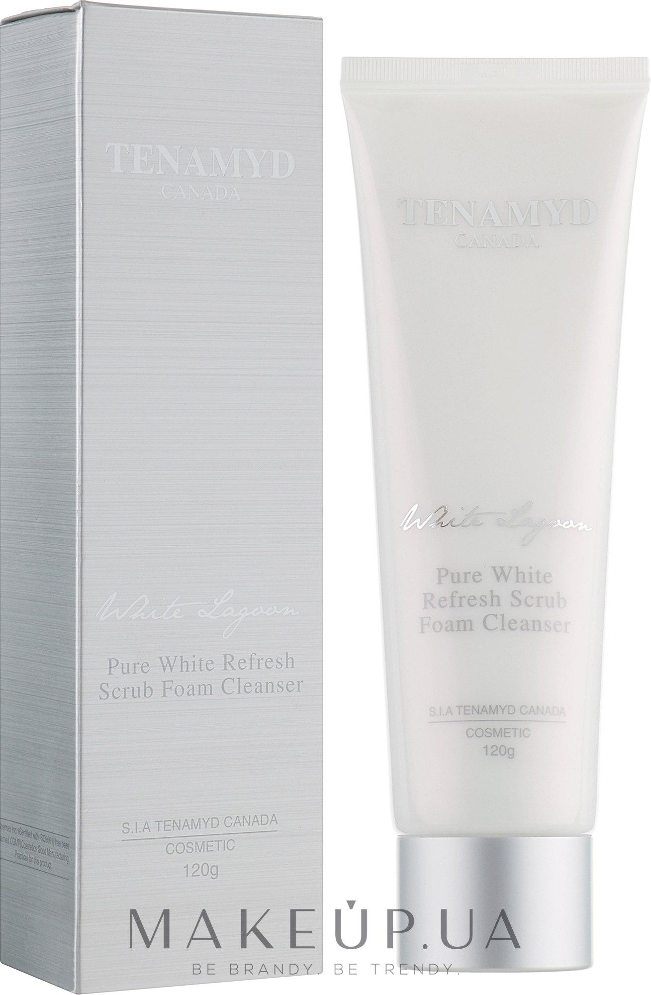 Отбеливающий массажный скраб для кожи с пигментацией - Tenamyd Canada Pure White Refresh Scrub Foam Cleanser — фото 120g