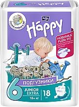 """Духи, Парфюмерия, косметика Детские подгузники """"Happy"""" Junior Extra Flexi Fit 6 (16+ кг, 18 шт) - Bella Baby"""