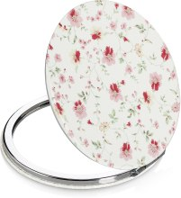 Духи, Парфюмерия, косметика Зеркало косметическое круглое, белое в розовые цветы - Lily Cosmetics