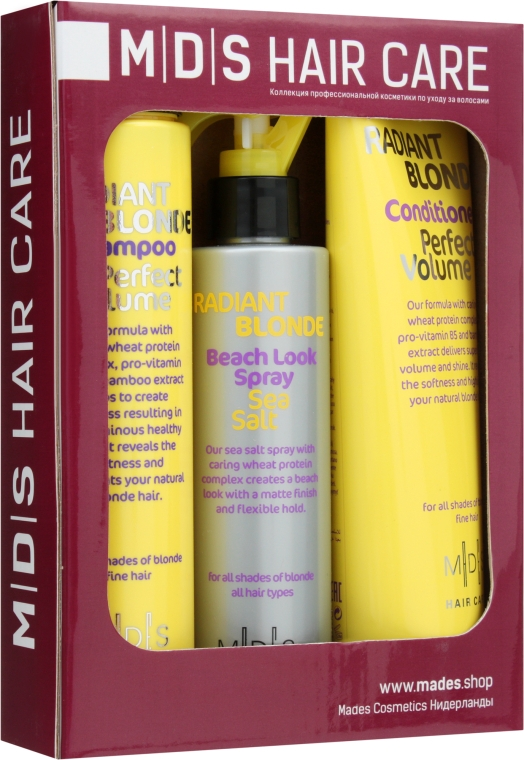 Набор «Идеальный Объем. Сияющий блонд» - Mades Cosmetics (sham/250ml + cond/250ml + spray/200ml)