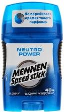 "Духи, Парфюмерия, косметика Дезодорант-стик ""Neutro Power"" - Mennen Speed Stick Deodorant"