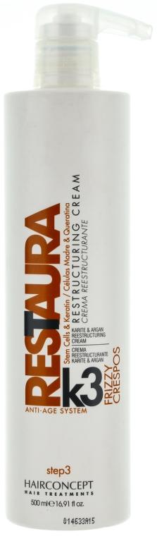 Восстанавливающие сливки с карите и арганой для толстых волос шаг 3 - HairConcept Restaura K Antiage Cream Frizzy Step 3