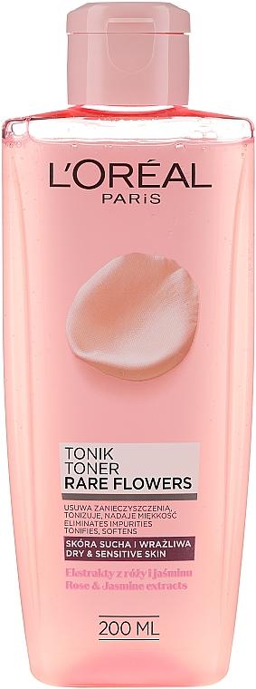 Успокаивающий тоник для сухой и чувствительной кожи - L'Oreal Paris Rare Flowers Tonic Dry and Sensative Skin