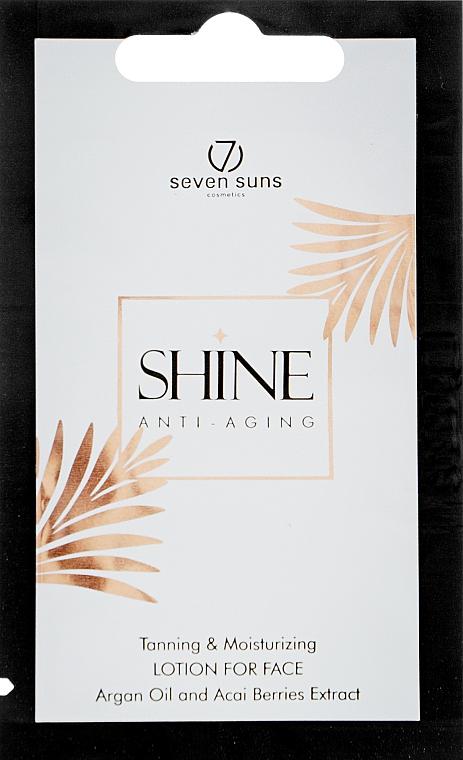 Лосьон для загара лица с омолаживающим эффектом, для натурального оттенка - 7Suns Shine Toning&Moisturizing Lotion (пробник)