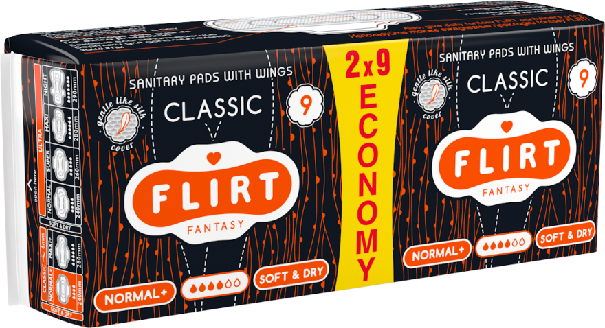 "Гигиенические прокладки ""Classic"", Soft & Dry, 4 капли, 18 шт. - Fantasy Flirt"