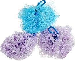 """Духи, Парфюмерия, косметика Губка банная сетчатая """"Bant"""", фиолетовая + синяя + фиолетовая - Акватория"""