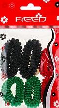 Духи, Парфюмерия, косметика Набор резинок для волос, 7579, 6шт, зеленый + красный + черный - Reed