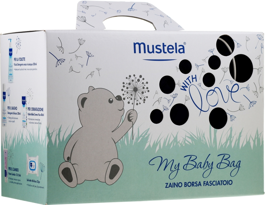 Набор - Mustela My Baby Bag Set (water/300ml + gel/shm/200ml + f/cr/40ml + b/cr/50ml + wipes/25pcs + bag)