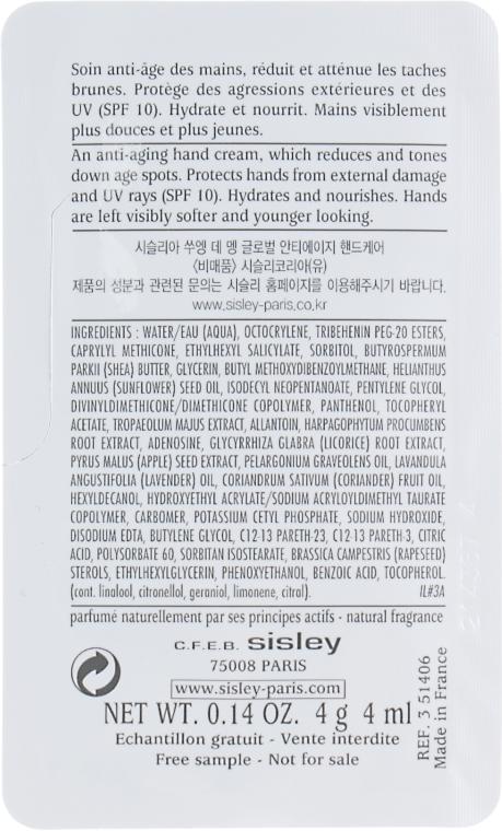 Антивозрастной крем для рук - Sisley Sisleya Global Anti-Age Hand Care SPF10 (пробник) — фото N2