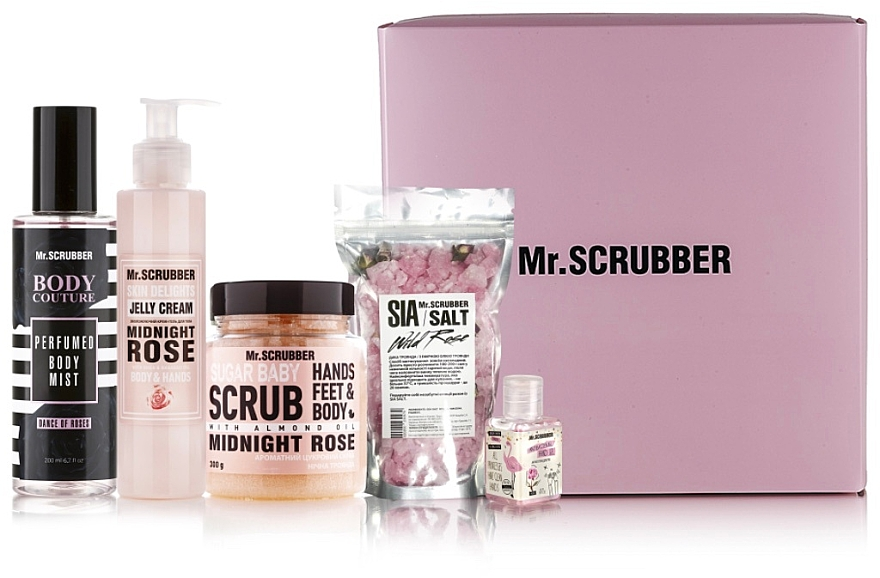 Набор - Mr.Scrubber Dance of Roses (scr/300g + cr/gel/150ml + mist/200ml + salf200g/ml +antiseptic/30ml)