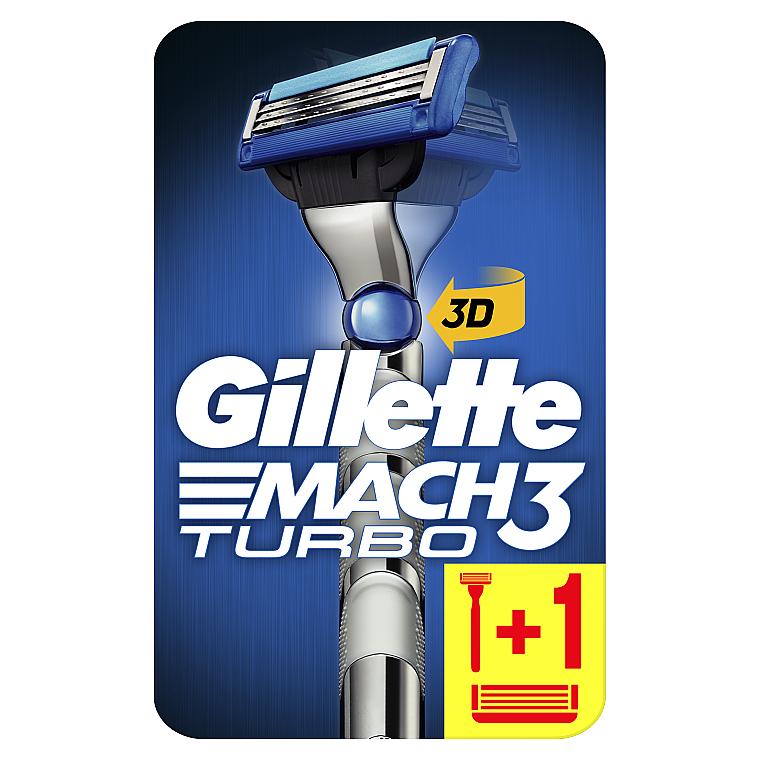 Бритва с 2 сменными кассетами - Gillette Mach 3 Turbo 3D Motion