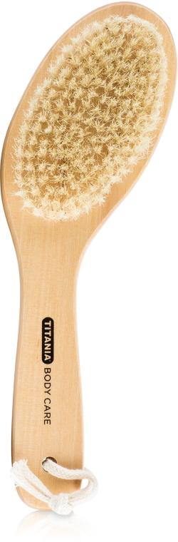 Деревянная щетка с натуральной щетиной для сухого массажа изогнутая, 26см - Titania