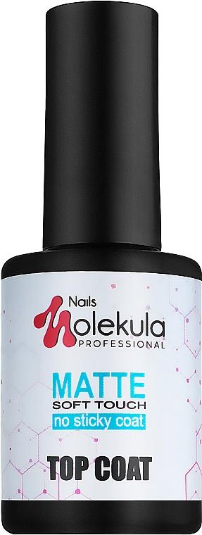 Финишное покрытие, матовое без липкого слоя с эффектом бархата - Nails Molekula Top Coat Matte Soft Touch