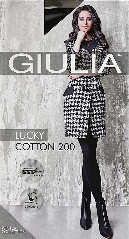 "Колготки для женщин ""Lucky Cotton"" 200 Den, nero - Giulia"