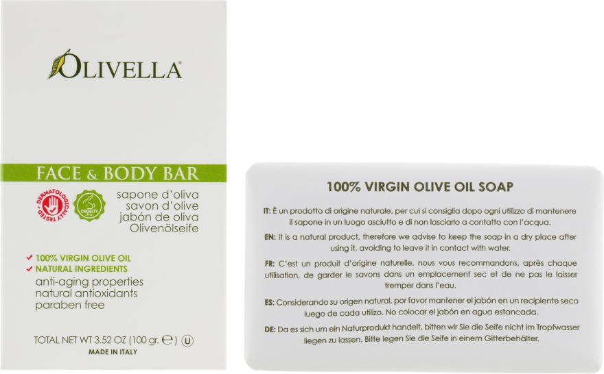 Мыло для лица и тела на основе оливкового масла - Olivella Face & Body Soap Olive