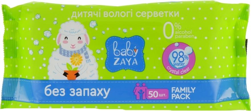 """Влажные салфетки """"Без запаха"""", 50шт - Baby Zaya"""