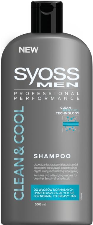 Шампунь для нормальных и склонных к жирности волос - Syoss Men Cool & Clean Shampoo