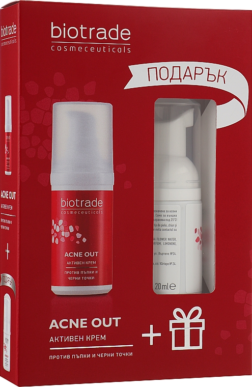 Набор для жирной и проблемной кожи: Активный крем + Мягкая очищающая пена в подарок - Biotrade Acne Out (cr/30ml + f/foam/20ml)