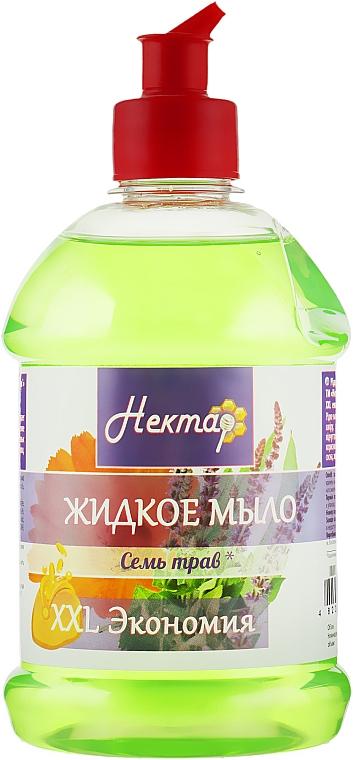 """Жидкое мыло """"Семь трав"""", пуш-пул - Aqua Cosmetics Нектар"""