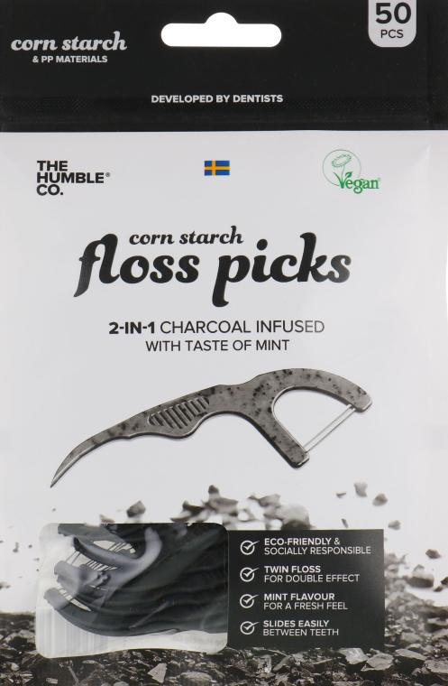 Флоссер зубная нить с держателем, черный - The Humble Co. Dental Floss Picks