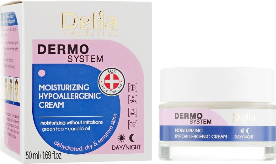 Крем для лица, увлажняющий, гипоаллергенный - Delia Dermo System Moisturizing Hypoallergenic Cream
