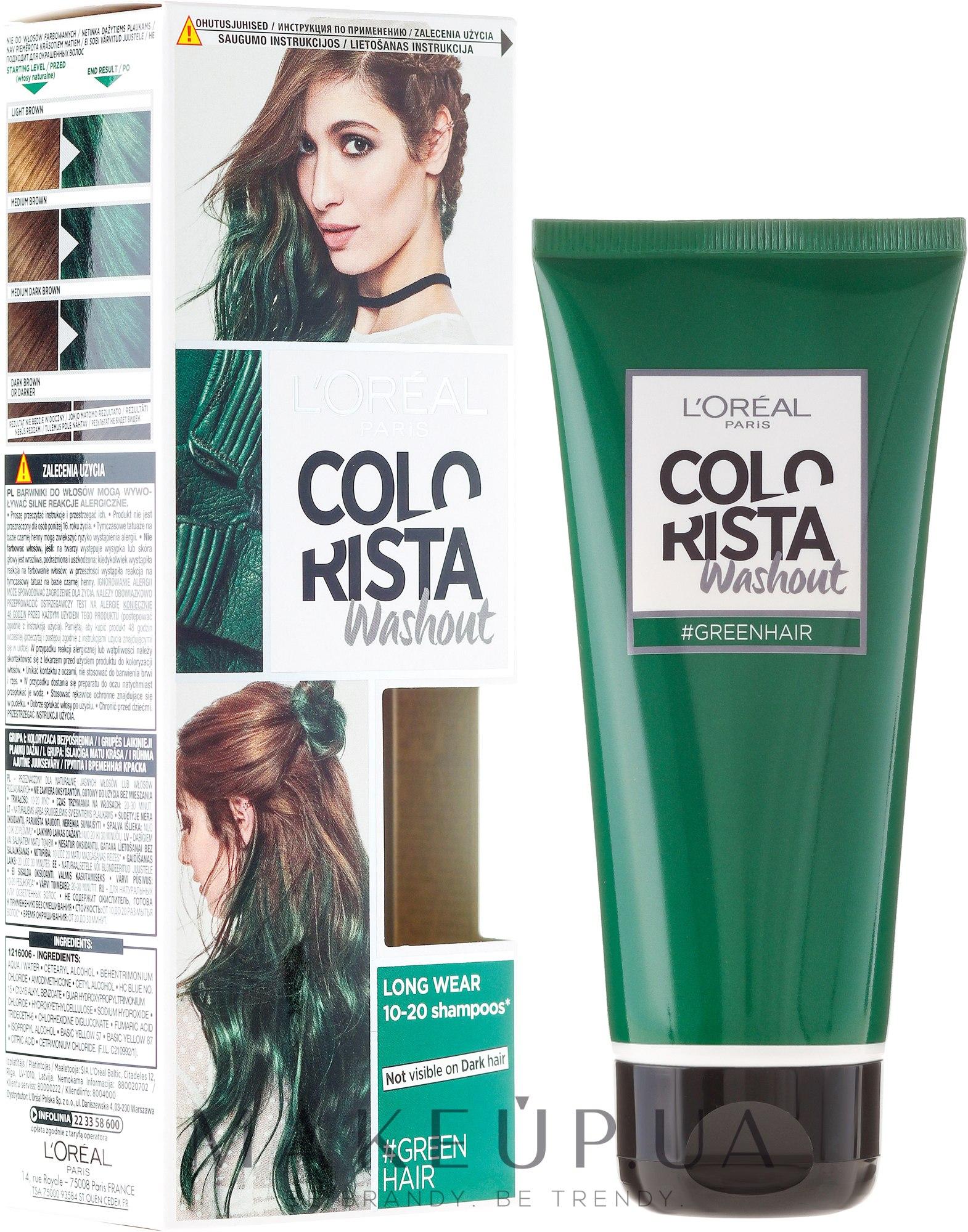 Тонирующий бальзам для волос - L'Oreal Paris Colorista Washout 1-2 Week — фото Mint