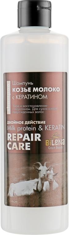 Шампунь «Козье молоко» с кератином для сухих и поврежденных волос - Bilena Milk Protein & Keratin