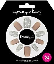 Духи, Парфюмерия, косметика Набор искусственных ногтей с клеем, 3063 - Donegal Express Your Beauty