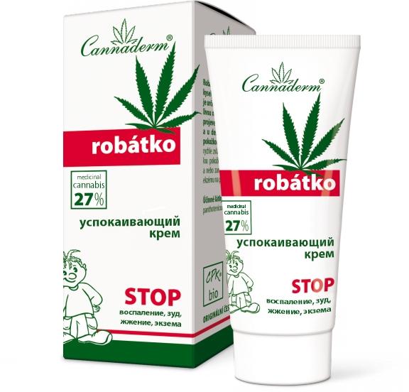 Успокаивающий крем для ухода за зудящей, чувствительной или воспаленной кожей - Cannaderm Robatko Cream