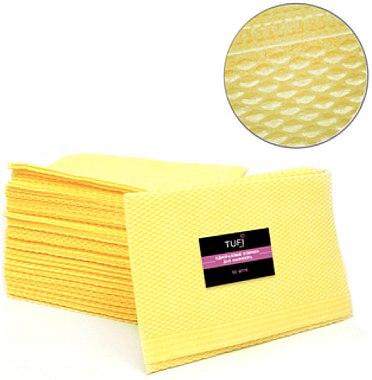 Одноразовые бумажные коврики для маникюра, желтый, 50 шт - Tufi Profi