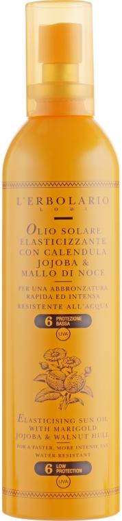 Олія для засмагання SPF 6 - l'erbolario Полотно, Solare Elasticizzante Con Calendula, Jojoba And Mallo di Noce — фото N1