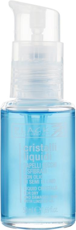 Жидкие кристаллы с экстрактом семени льна для тонких и мягких волос голубые с дозатором - Black Professional Line Liquid Crystal