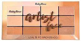 Духи, Парфюмерия, косметика РАСПРОДАЖА Пудровая палетка для лица с бронзером - Ruby Rose Artist Face Palette *