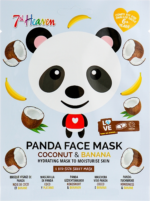 "Тканевая маска для лица ""Панда"" с экстрактом банана и кокоса - 7th Heaven Face Food Panda Face Mask Coconut & Banana"
